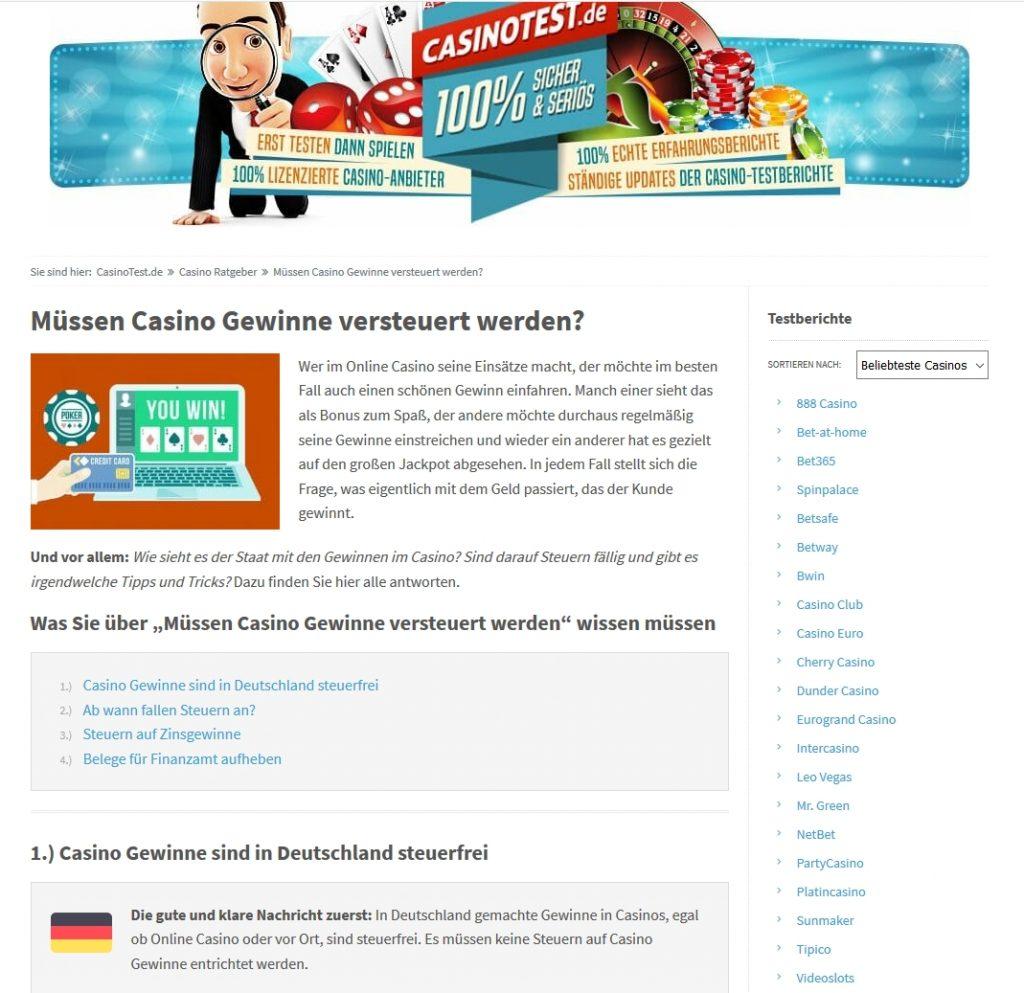 Gewinne Online Casino Versteuern